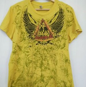 American Apparel Def Leppard 80's hi Band Yellow T